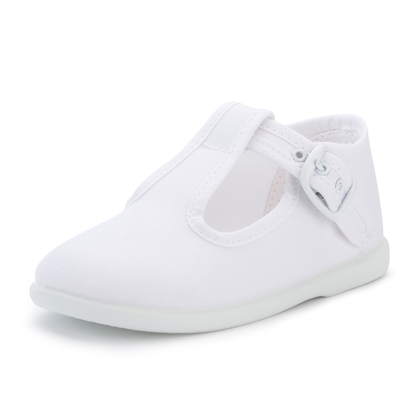 Canvas Buckle Up T-Bar Shoes