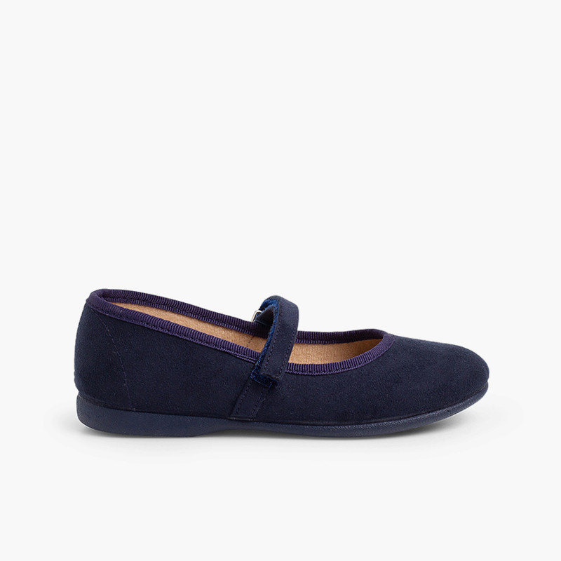 Girls Riptape Faux Suede Mary Janes