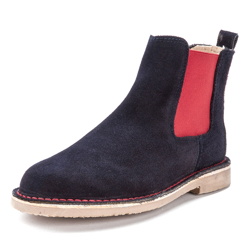 Suede Chelsea Boots with Coloured Elastic