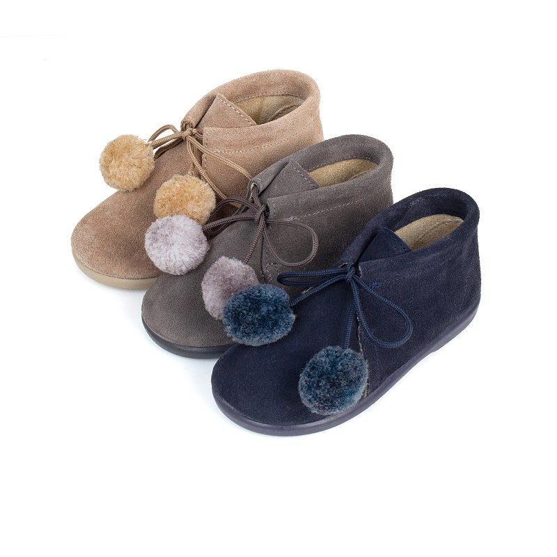 Booties with Pompoms for Boys and Girls