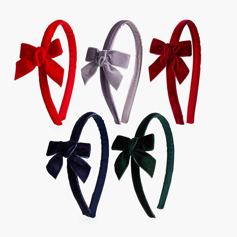 Velvet headband with bow