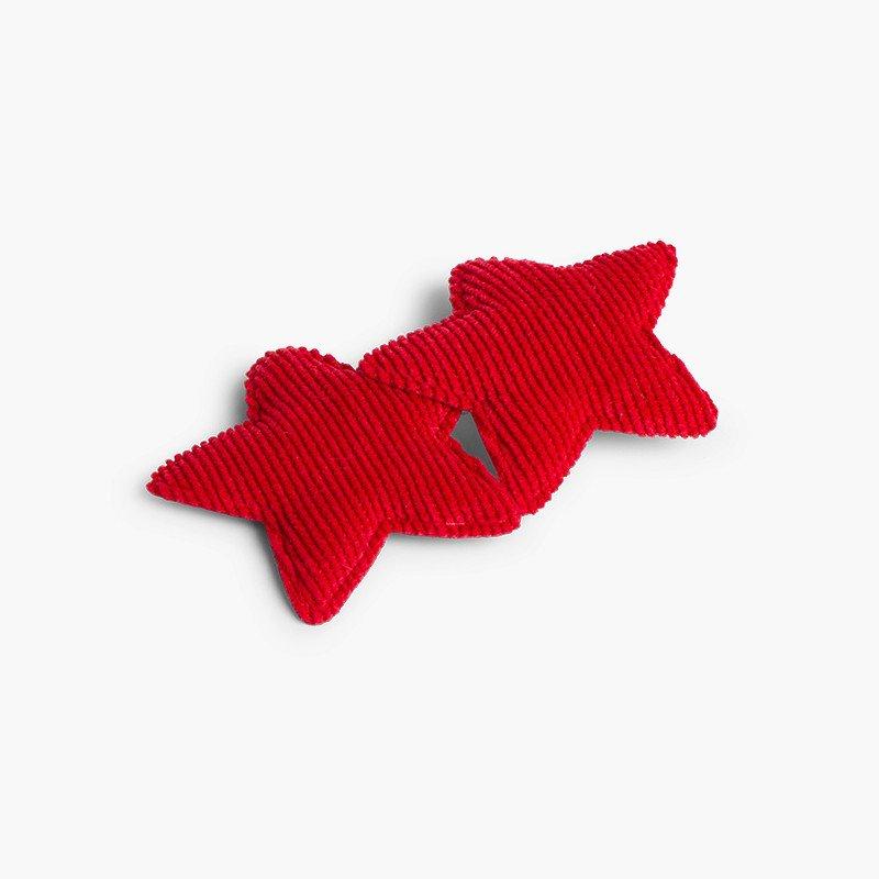 Corduroy two-star hair clip