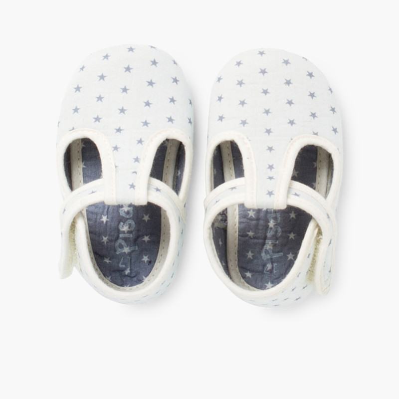 Baby Boys Canvas T-bar Shoes with Stars