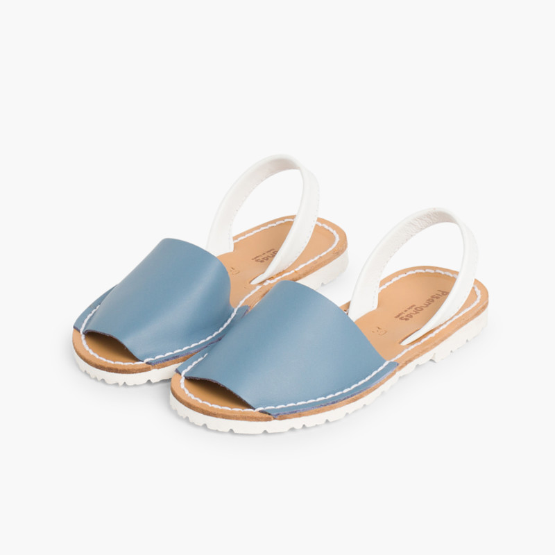 Kids Two-Tone Nappa Menorcan Sandals - Special Edition White Sole