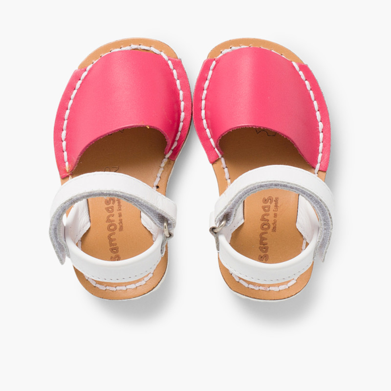 Kids Two-Tone Avarca Menorcan Sandals with Velcro - Special Edition White Sole
