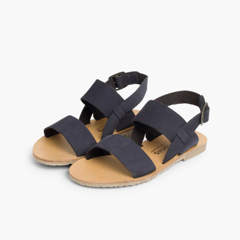 Wide Straps Nubuck Sandals