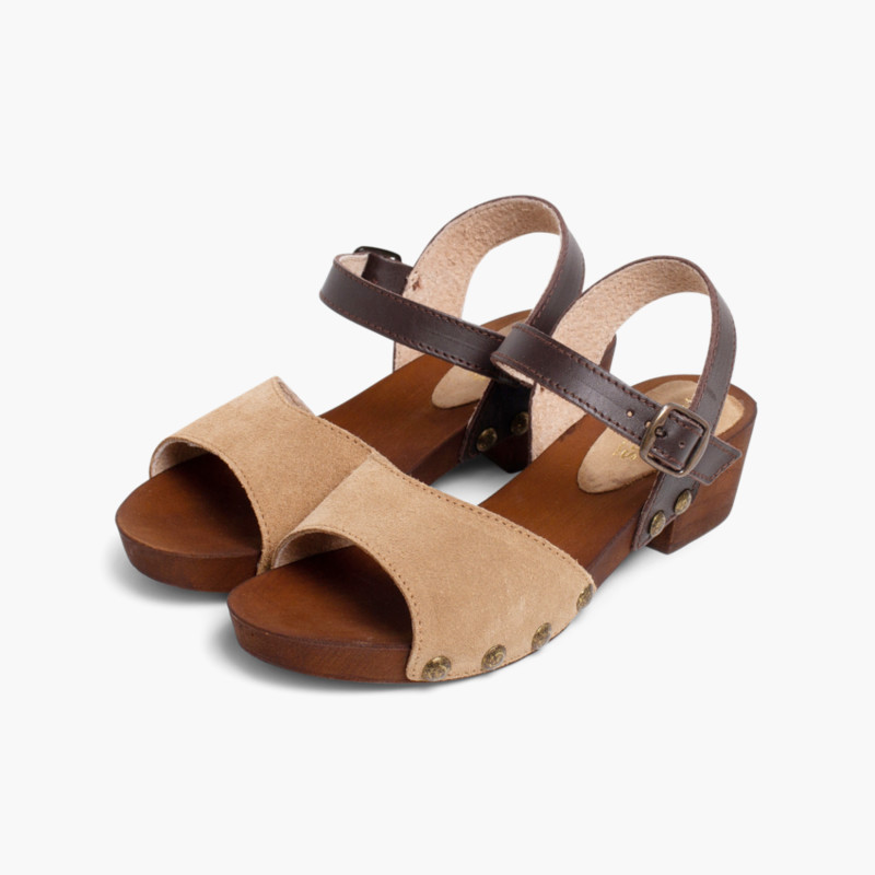 Suede Sandals Wood-like Soles