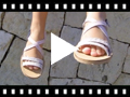 Video from Girls' Leather Sandals with Crossover Strap and Mother of Pearl Effect