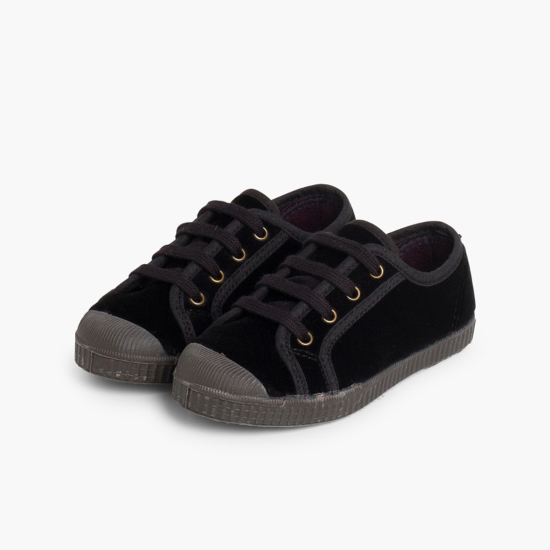 Velvet Lace-up Trainers