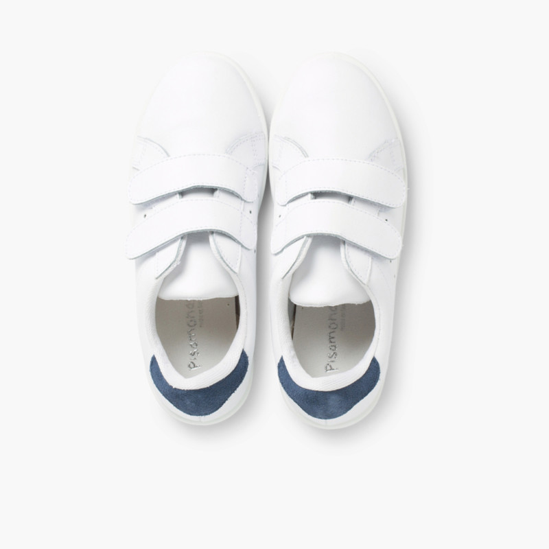 White Low-rise Trainers Split Leather and Velcro