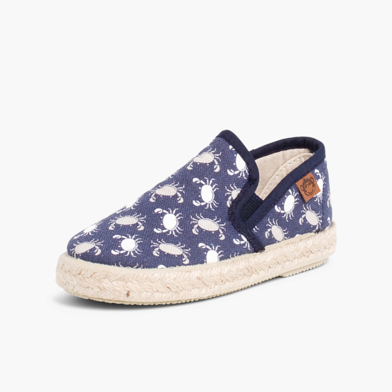 Printed Clasticated Canvas Trainers With Espadrille Sole