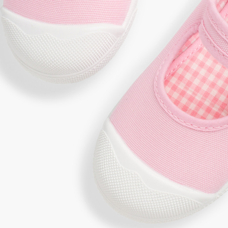 Girls Buckle Up Rubber Toe Cap Canvas Mary Janes