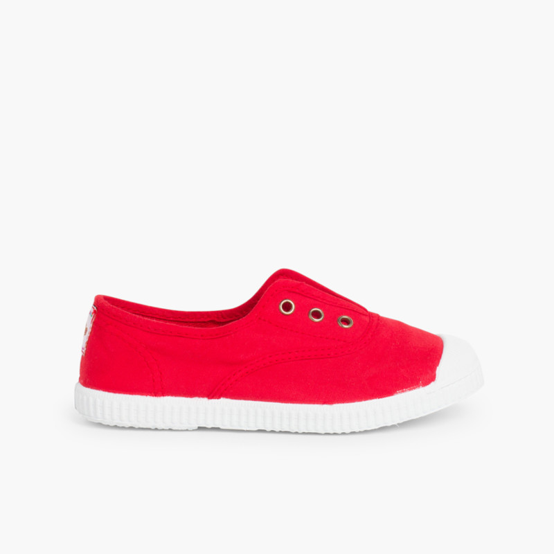 Rubber Toe Cap Canvas Trainers Without Laces