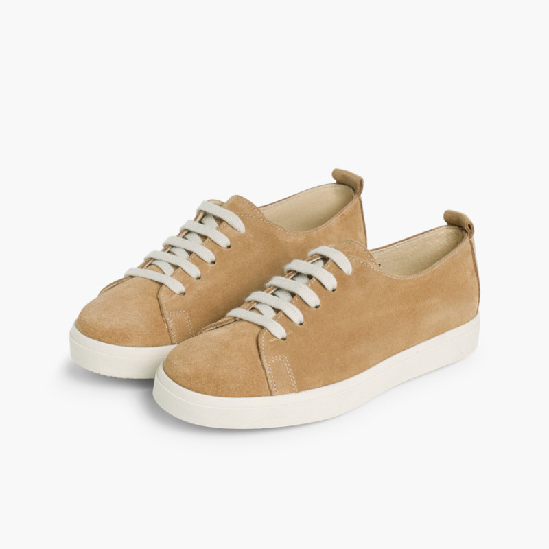 Split Leather Lace-up Trainers