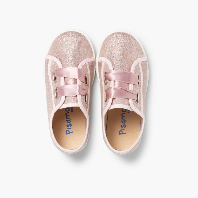 Metallic Canvas Trainers Satin Bow