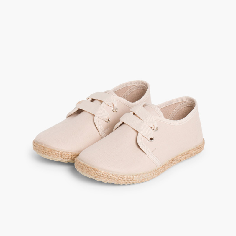 Bluchers With Esparto Grass Soles And Satin Effect