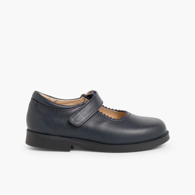 Girls Riptape Mary Jane School Shoes