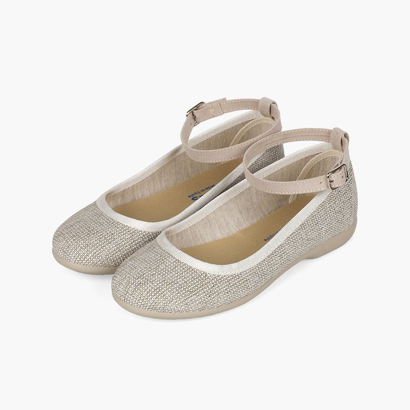 Sparkly Ballet Flats with Ankle Bracelet