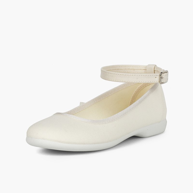 Fabric Ballet Flats with Ankle Bracelet and Satin Ribbons