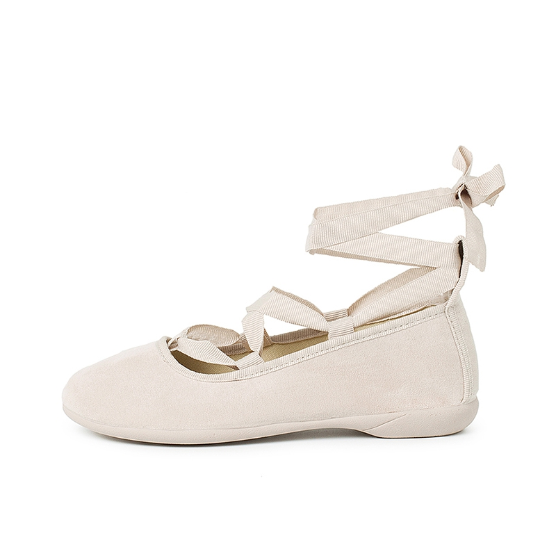 Suede Effect Ballet Pumps With Bows