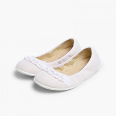 Laced Linen Ballet Pumps White