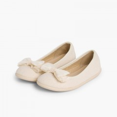 Canvas Ballerinas with Tulle Bow Beige