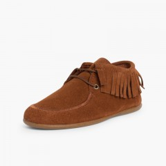 Fringed Ankle Boots for Kids and Women  Tan