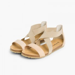 Leather sandals with crossover elastic straps  Beige