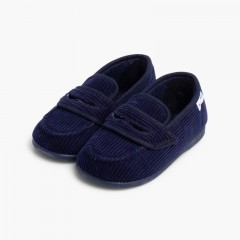 Corduroy Moccasin Slippers Navy Blue