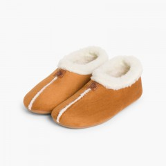 Faux Sheepskin Slippers Tan