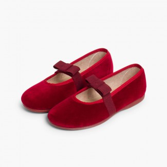 Bow-Shaped Elastic Velvet Ballerinas Burgundy