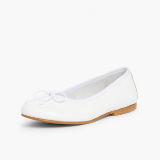 Girls Leather Ceremonial Ballerinas White