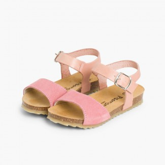Leather and Suede Sandals with Buckles Pink