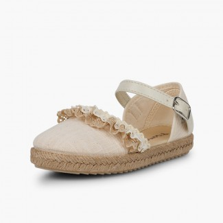 Ceremony Espadrilles with Lace Off-White
