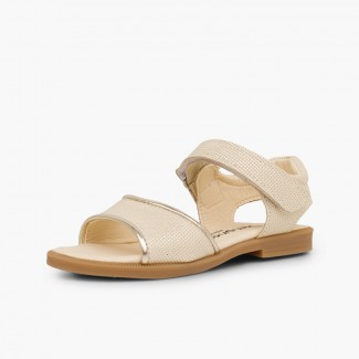 Shiny leather sandals girls velcro Beige