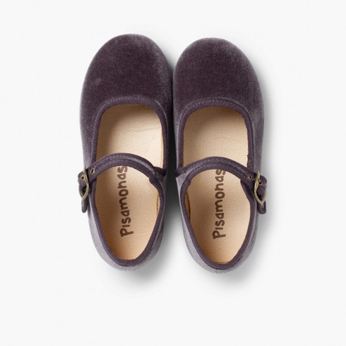 Girls Buckle Up Velvet Mary Janes