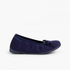 Canvas Ballet Flats with Ribbon Navy Blue