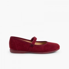 Girls Riptape Faux Suede Mary Janes Burgundy