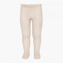 CONDOR Pointelle Summer woollen tights Linen