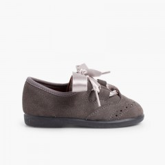 Kids Suede Oxford Shoes  Grey