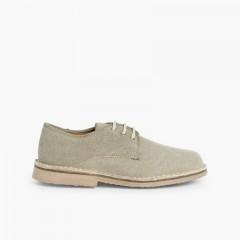 Mens & Boys Canvas Blucher Shoes Light Brown