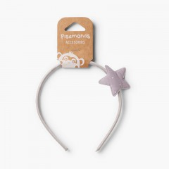 Thin headband with dotted star  Light Grey