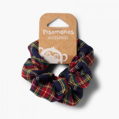 Girls' Scottish-patterned hair tie  Navy Blue