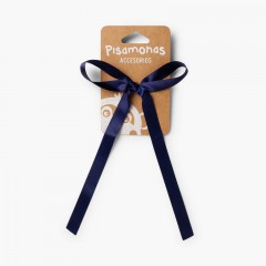 Hair tie with satin bow  Navy Blue