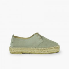 Bluchers with Jute Platform for Women and Girls Mint Green