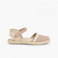 Girls Espadrilles Canvas & Linen Lace Light Brown