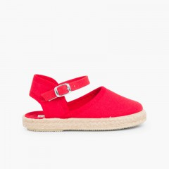 Girls Buckle up Espadrille Wedge  Red
