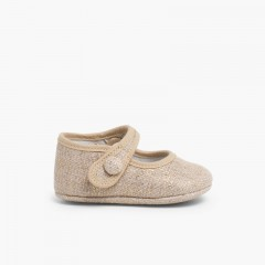 Mary Jane Booties Linen Velcro Light Brown