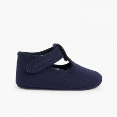 Baby Boys Canvas T-Bar shoes with velcro  Navy Blue