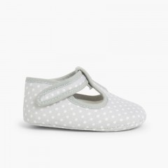 Baby Boys Polka Dot T-bar Shoes Grey